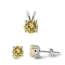 """NEW! Lemon Topaz .925 Sterling Silver Pendant & Earrings Set .5"""""""