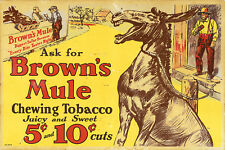BROWN'S MULE CHEWING TOBACCO ADVERTISING METAL SIGN
