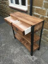 Bespoke H80 x W80 x D22cm industrial steel console hall table drawers 2 shelves