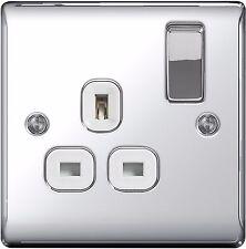 BG Nexus Light 13A 1 Gang Switched Socket Polished Chrome White Inserts - NPC21W