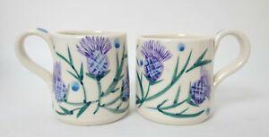 Two Crail Pottery Scottish studio pottery Thistle handpainted mugs