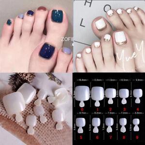 Unisex False Toe Nails Extension Natural White Full Cover Toenail Christmas Gift