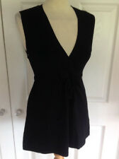 FRANSA black long line sleeveless V neck tunic jumper /short dress Sz L UK 12 14