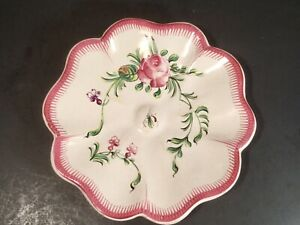 Antique French Floral Faience Hand Painted Rose Dish Plate c.1800's w Mosquito