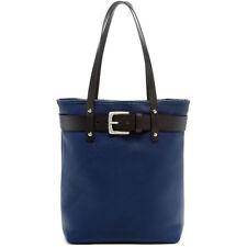 Jack Georges Belmont Open Top Tote Bag, Leather Handbag in Navy