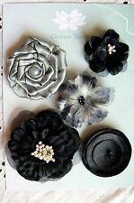 Flowers - 5  BLACK & SAGE Mixed Designs Pack Fabric 4-6 cm across Green Tara