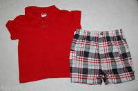 Toddler Boys Shorts Set RED BLUE PLAID Red Polo 12 Mo 18 Mo 24 Mo 2T 3T 4T