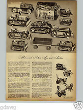 1950 PAPER AD 3 Pg Toys Mechanical Tank Dick Tracy Car Rocket Disney Roadster