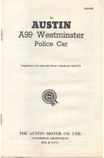 Austin A99 Westminster Police Car Supplementary Handbook 1960