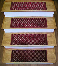 "Rug Depot Set of 13 Casual Trellis Non Slip Carpet Stair Treads 26"" x 9"" Red"