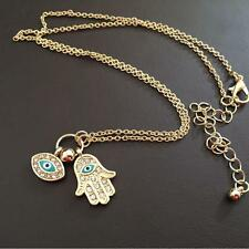 Jewelry Charm Pendant Necklace Evil Eye Fatima Hand Hamsa Gold/Silver Plated