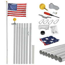25-foot Sectional Flag Pole Single flag unit with 3'x5'American National Flag