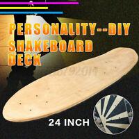 61cm Bricolaje Arce Blanco Pequeño Pez Tabla Skate Tabla Natural Madera 7 Capas