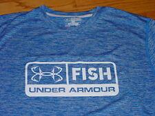 Mens 2XL Under Armour Fish Fishing Shirt L/S Long Sleeve Blue