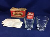 Vintage Calvert Whiskey  Taste Test Kit Shot Glass Pair with Guide Book & Box