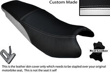 BLACK & WHITE CUSTOM FITS KYMCO PULSAR 08-13 DUAL LEATHER SEAT COVER ONLY