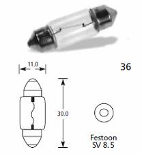 10 X 269 Festoon número Placa / Interior bombillas 12v 10w S8.5 d