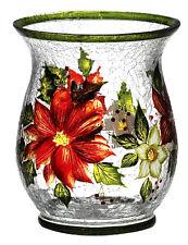 Holiday Bloom Crackle Glass Sm Pillar Holder Home Decor