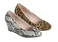New Animal Print Closed Toe Mid Low Wedge Heel Slip On Pump Shoes Leopard/Snake