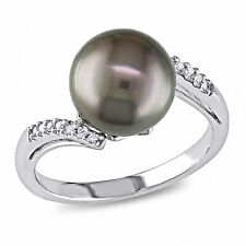 Amour Black Tahitian Cultured Pearl and Diamond Crossover Ring in 10k White Gold