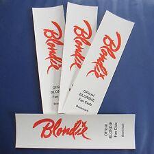Blondie 1978 Fan Club Bookmarks Lot of 4; Unused; Ex/Nm Cond; Sleeve Kept