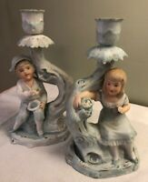 Antique Pair of German Bisque Hand Painted Candlestick Holders