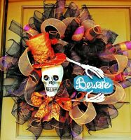 Handmade Halloween Skeleton with Top Hat Wreath Skull & BEWARE Sign Door Decor