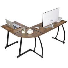L Shaped Computer Desk L Shaped Corner Desk Laptop Study Writing Table Brown