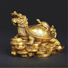Gold Feng Shui Dragon Turtle Tortoise Statue Figurine Coin Money Wealth Luck New