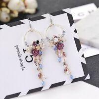 Women Crystal Flower Tassel Ear Stud Long Dangle Drop Fringed Earrings Jewelry