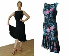 STRETCHY SIMPLE BALLROOM / LATIN DANCE PRACTICE DRESS NO SLEEVES BLACK / FLORAL