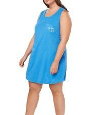 """Jenni by Jennifer Moore Women's """"Oh Hey Vacay"""" Long Night Shirt, Blue–Plus 2X"""