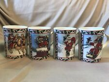 Set of 4 Santa Claus Smithsonian Institution Christmas Coffee Mugs Japan in box