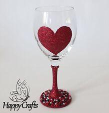 GLITTER stelo Pearl base Champagne Flute Vetro Amore cuore rosso