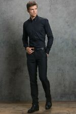 "Black Mens Shirt 17"" Collar Long Sleeve Poly Cotton Shirt Kustom Kit KK113"