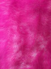 "Faux Fur fake White With Hot Pink Frosted tips fabric 60"" Wide sold by the yard"