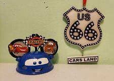 Disney Light Up Radiator Spring Racers Route 66 Ear Ornament Set Of 2 Disneyland