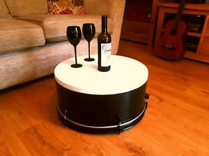 Upcycled Bass Drum Coffee Table with storage
