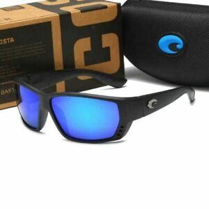 Costa Del Mar Fisch Men's Sunglasses Matte Black Frame / Blue Mirror 580P Lens