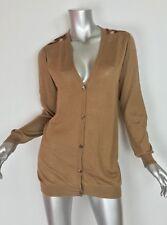 PRADA 100% Cashmere camel tan sweater cardigan leopard elbow patches Sz 42 US 6
