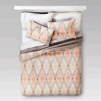 Threshold 3 Piece Comforter & Shams Set Full Queen Bedding Gray Peach Cream