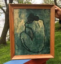 Vintage  OLD Picasso Print Blue Nude Framed Art Picture