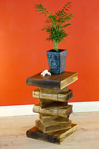Side Table Wood Books Stack Stool Podium Bücherhocker Night Table Tabletop