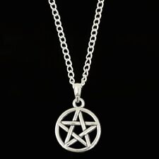 1 x Pentagram 18 Inch Silver Plated Necklace Pendant  - Pagan Wicca Gothic Charm