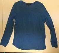 INC Long Sleeve Scoop Neck Top Blue Size Large L