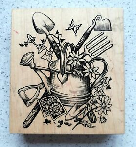 PSX Gardener Watering Can wood mounted rubber stamp K-1620
