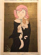 Original Japanese Woodblock Print Ryusei Yoshimi Okamoto A Girl In Black w Cat