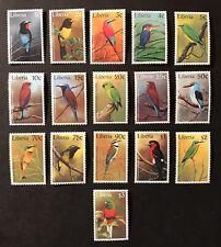 LIBERIA BIRD STAMPS SET 16V '97 MNH LOVEBIRD BEE EATER KINGFISHER WILDLIFE BIRDS