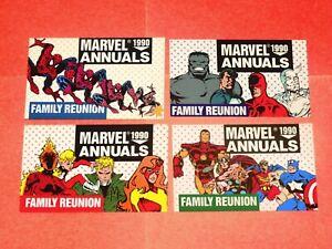 1990 MARVEL ANNUALS PROMO 4 CARD SET! FAMILY REUNION! SPIDER-MAN X-MEN AVENGERS!