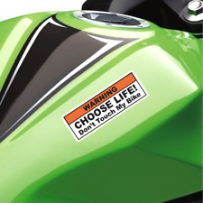 (2X) Funny Warning Sticker Decal - Choose Life Don't Touch My Bike Cruiser Sport
